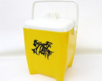 Vintage Ice Bucket | Yellow Canister | Barware Ice Holder | Kitchen Canister - As Is