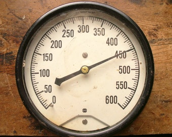 Large Vintage Black and White Gauge with Brass Connector