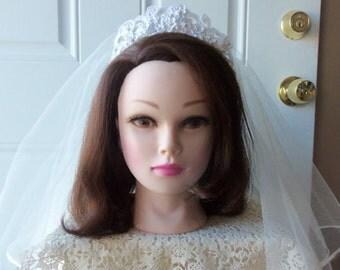 Bridal Headpiece and Veil - Wedding Accessory, Something Old, Vintage Headpiece, Destination Wedding, Traditional Bride:   LILY - BBD-103