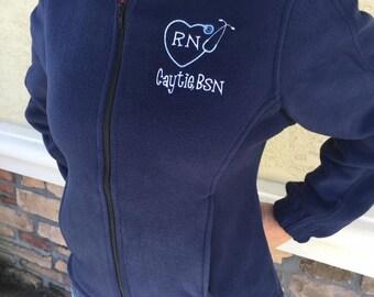 Personalized Ladies Nurse/Doctor Heart Stethoscope Full-Zip Fleece Jacket