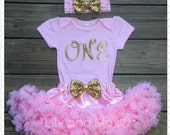 Pink and gold ONE Outfit, pink and gold Birthday set, Embroidery Sparkly Glitter ONE outfit with pink chiffon pettiskirt