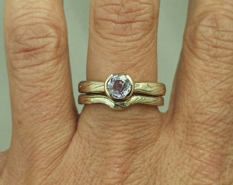 Yellow Gold with Sterling Mokume Gane Bridal Set with Purple Sapphire