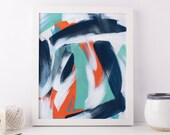Colorful Prints, Wall Art Print, Wall Hanging, Colorful Decoration Bright Room Decor Wall Decor Abstract Art Print Navy Decor Turquoise Art