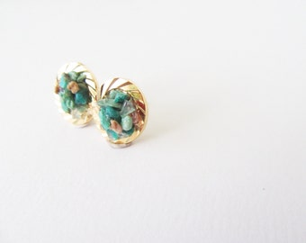 Chysocolla Stud Earrings  - Boho Chic Jewelry
