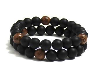 Mala Beads Men Beaded Bracelet Coachella Festival Fashion, Matte Onyx Sandalwood Chakra Wood Bracelet, Men Inspirational Jewelry Boho Gift