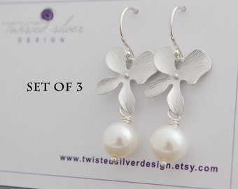 DISCOUNTED Set of 3 Silver Orchid Earrings with White Freshwater Pearls, Argentium Sterling Silver Hoops, Bridesmaid Gift, Wedding Jewelry