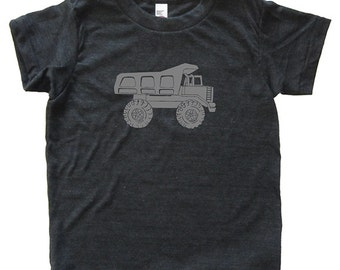 Dump Truck Tshirt - Kids Construction Shirt - Tee - Youth Boy Shirt / Super Soft Kids Tee Sizes 2T 4T 6 8 10 12 - Triblend Gray