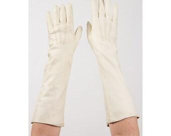 Leather gloves / Vintage cream white elbow length kid gloves S
