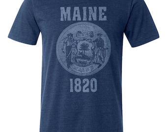 Maine State Seal T-Shirt. Vintage Style Soft Retro New England Shirt Unisex Men's Slim Fit and Women's Tee