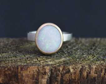 14k Yellow Gold Sterling Silver Opal Ring -10 x 12 mm Opal Ring - Bezel Set Ring - Two Tone Ring - Stacking Ring - Ready to Ship Size 8