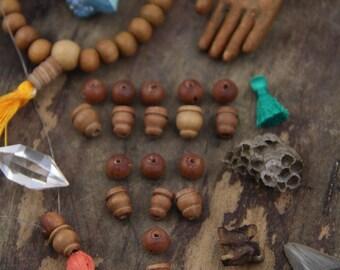 Sandalwood Guru Beads, 8mm, 3 sets (6 beads), for Mala, Bracelet, Yoga Jewelry Making Supplies, Natural Bohemian, Boho Zen Style