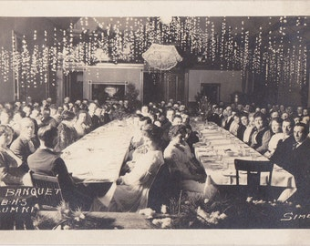 BHS Alumni Banquet- 1910s Antique Photograph- Class of 1917- Edwardian High School- Dinner Party- Real Photo Postcard- RPPC- Paper Ephemera