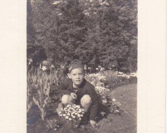 Spring Flowers- 1940s Vintage Photograph- Boy in Flower Garden- Victory Hat- WWII Snapshot- Found Photo- Vernacular- Paper Ephemera