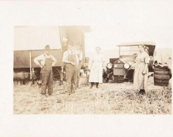 Edwardian Caravan- 1910s Antique Photograph- Farmers in Overalls- Automobile- Farm Family- Real Photo Postcard- RPPC- Paper Ephemera