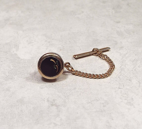 Vintage tie tack swank signed tie tack black tie tack gold for What is swank jewelry