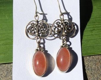 Vintage Agate Earrings Pink