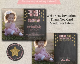 Twinkle Twinkle Little Star Invitation, Thank You Card, Return Address Labels  | Twinkle Twinkle Little Star First Birthday Party Printables