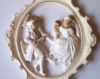 Victorian Style Home Decor, Romantic Ornate Framed Statuary, Pretty Ivory and White Wall Decor