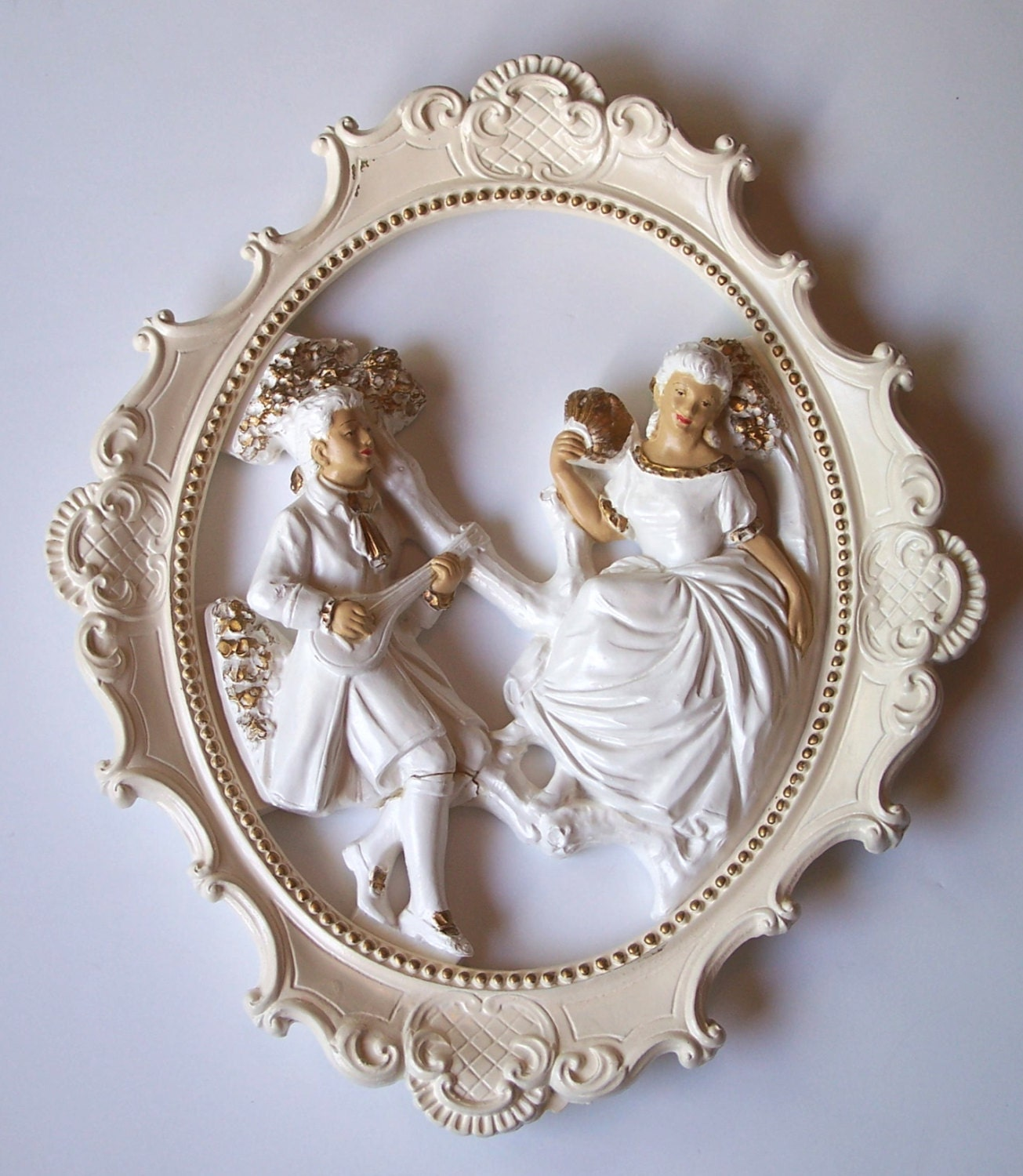 Victorian style home decor romantic ornate framed statuary for Victorian home decor for sale