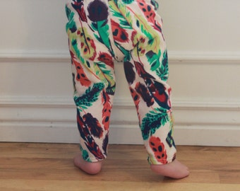 SALE Multi Colored Feather, Peacock, Baby Girl, Knit Leggings Pants, Teal, Orange, Pink, Purple,Yellow