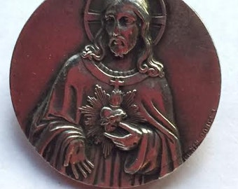 Vintage Sacred Heart of Jesus Silver Relgious Medal Brooch by PENIN PONCET