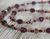 Copper, Champagne, and Purple Necklace and Earring Set / Amethyst Glass, Copper, Swarovski Crystal / Purple Necklace / Gifts for Her
