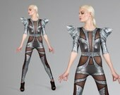 Space Alien Catsuit, Futuristic Silver Jumpsuit, Unique Dance Stage Wear, Aerial Silks & Circus Outfit, Burning Man, by LENA QUIST