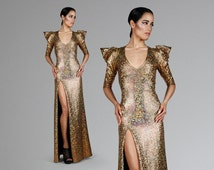 Gown w. High Slit in Gold Hologram, Holographic Maxi Dress, Sharp Shoulder, Sexy Party Wear, Red Carpet Clothing, by LENA QUIST