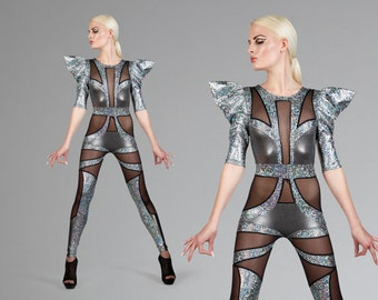 Space Alien Catsuit, Silver Jumpsuit, Futuristic Clothing, Stage Wear, Dance Costume, Aerial Silks, Burning Man, by LENA QUIST