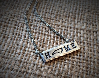 "North Carolina ""HOME"" Necklace - NC home - NC Proud - State Stamped Bar Necklace - Proud North Carolina"