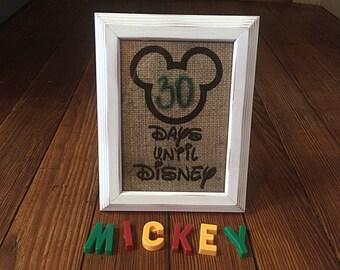 Countdown to Disney - Surprise Disney Trip Ideas - Days Til Disney - Kids Children Gifts - Birthday Gift - Rustic Burlap Announcement
