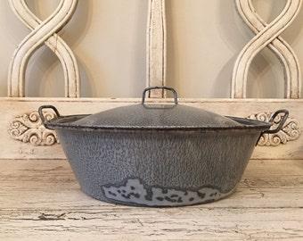Vintage Gray Enamel Pot with Lid - Low Soup Pot or Casserole - Rustic Farmhouse Pot