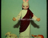 Weird Photography Religious Kitsch Jesus with Bunny Rabbit Mask 5x5 Inch Small Wall Art Print