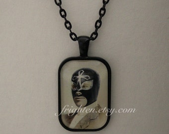 Lucha Libre Petite Pendant Necklace, Luchador, Unusual Art Jewelry, Small Pendant with Black Chain and Gift Box