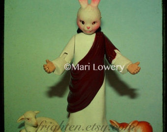 Weird Photography, Religious Kitsch, Small Print, 5x5 Inch Print, Mini Print, Doll Photography, Unusual Art
