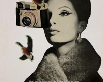 Vintage Camera Art, Paper Collage Print, Retro Art, Beautiful Woman, Surreal Art, Unusual Portrait, Bird Art Print