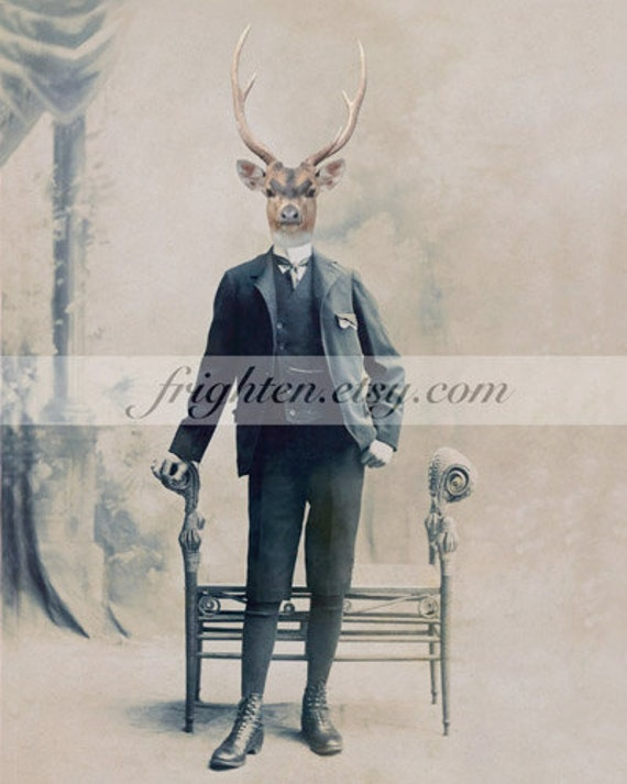 Deer in Suit Art, Collage Art, 8x10 Print, Animal in Clothes, Stag Art, Victorian Man, Anthropomorphic Art, Gift for Men