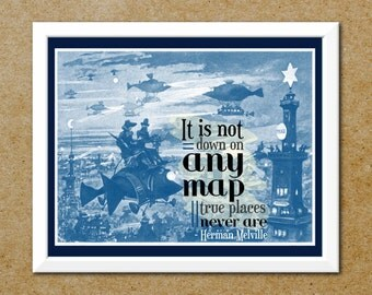 Steampunk Map Quote Print- Retro Futurism Steampunk Art - Typography and Vintage Illustration - AirShips at Night Print - Free Shipping
