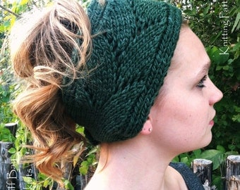 KNITTING PATTERN,Knit Head Wrap,Knit Ear Warmer,Headband,lace,openwork,pine green,gray,wool,turban,buttoned,teens,women,gift for her