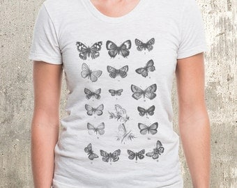 Women's Tri Blend T-Shirt - Butterfly Chart - American Apparel Women's Tri-Blend Tee