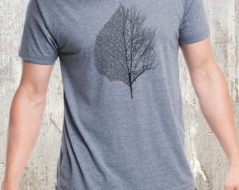 Men's Leaf & Tree T-Shirt - Screen Printed Men's American Apparel Tri-Blend T-Shirt
