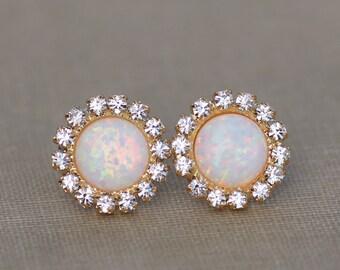 NEW White Opal Halo Stud Earring,Gold Opal Stud Earrings,Lab Created Opal Gemstone Post,Gift For Her,October Birthstone,Rhinestone Halo,