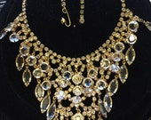 Reserved for Yvonne Georgeous Vintage Juliana D&E  Bib Waterfall Bridal Clear Crystal and Rhinestone Necklace