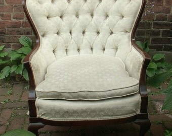 Vintage French Provincial Chair, Wingback chair, Ivory, Bedroom chair, Tufted chair, French country chic, shabby chic chair