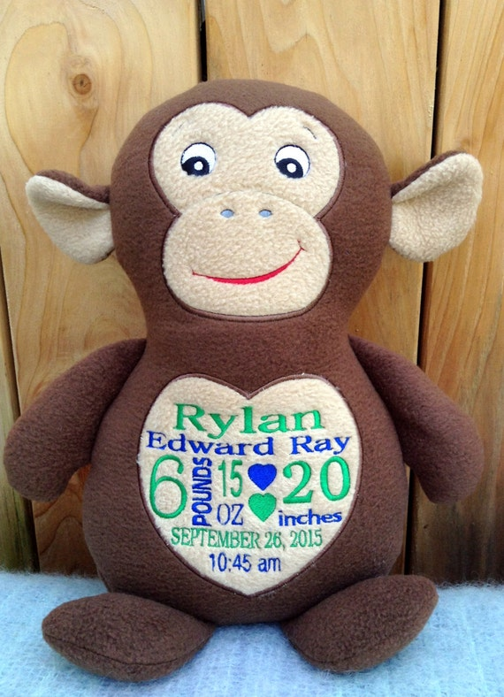 Monogrammed baby gift embroidered monkey made in usa