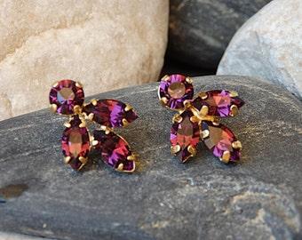 Amethyst Cluster Earrings, Purple Stud Earrings, Gold Amethyst Post Earrings, Purple Swarovski Earrings, Purple Amethyst Swarovski Earrings
