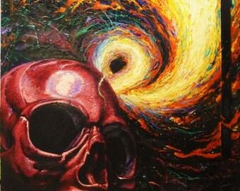 Original Acrylic Skull Painting, Detroit Art, Detroit Artist, Skull Pictures,original artwork, mixed media on door panel