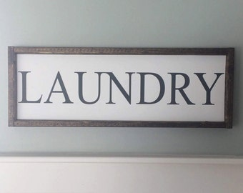 Ready to ship * Laundry Sign / Painted Wood Sign / Wood Sign / Laundry Room / Laundry Decor (Approx 8.5 in x 24 in)