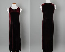 1990s Vintage Velour Dress Long Maxi Dress Sleevesless Dark Red Cranberry Stretch Knit Velvet Spandex | 90s Grunge | USA Size 14 Large L 16B