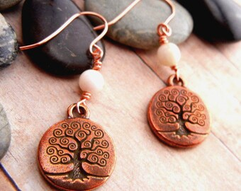 Copper Tree of Life charm earrings with white shell beads // antiqued copper // unity earrings // tree of life symbol